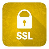 ssl flat icon, gold christmas button