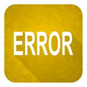 error flat icon, gold christmas button