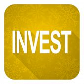 invest flat icon, gold christmas button