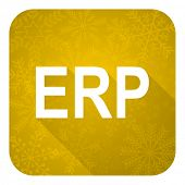 erp flat icon, gold christmas button