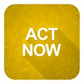 act now flat icon, gold christmas button