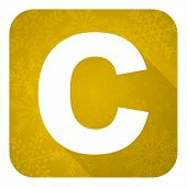 copyright flat icon, gold christmas button