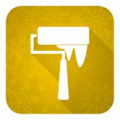 brush flat icon, gold christmas button, paint sign
