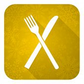eat flat icon, gold christmas button, restaurant symbol