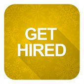 get hired flat icon, gold christmas button