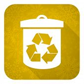 recycle flat icon, gold christmas button, recycling sign