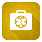 rescue kit flat icon, gold christmas button, emergency sign