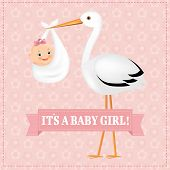 stock photo of stork  - Poster Stork With Baby Girl With Gradient Mesh - JPG