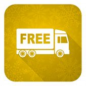 free delivery flat icon, gold christmas button, transport sign