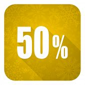50 percent flat icon, gold christmas button, sale sign