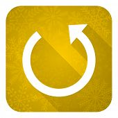 rotate flat icon, gold christmas button, reload sign