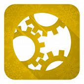 gear flat icon, gold christmas button, settings sign
