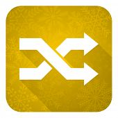 aleatory flat icon, gold christmas button