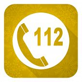 emergency call flat icon, gold christmas button, 112 call sign