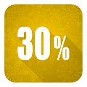 30 percent flat icon, gold christmas button, sale sign