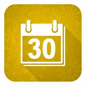 calendar flat icon, gold christmas button, organizer sign