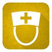 nurse flat icon, gold christmas button, hospital sign