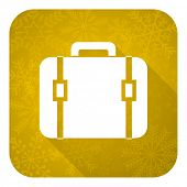 bag flat icon, gold christmas button, luggage sign