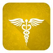 emergency flat icon, gold christmas button, hospital sign
