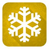 snow flat icon, gold christmas button, air conditioning sign