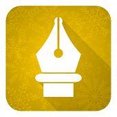 pen flat icon, gold christmas button