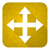 arrow flat icon, gold christmas button