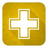 pharmacy flat icon, gold christmas button