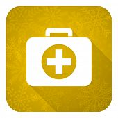 first aid flat icon, gold christmas button, hospital flat icon, gold christmas button
