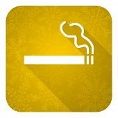 cigarette flat icon, gold christmas button, nicotine sign