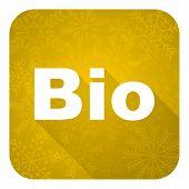 bio flat icon, gold christmas button