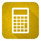 calculator flat icon, gold christmas button