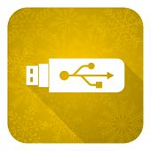 usb flat icon, gold christmas button, flash memory sign
