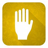stop flat icon, gold christmas button, hand sign