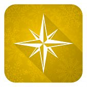 compass flat icon, gold christmas button