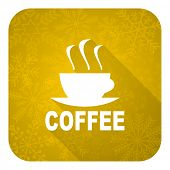 espresso flat icon, gold christmas button, hot cup of caffee sign