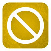 access denied flat icon, gold christmas button