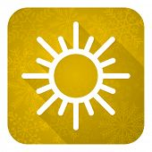 sun flat icon, gold christmas button, waether forecast sign