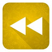 rewind flat icon, gold christmas button