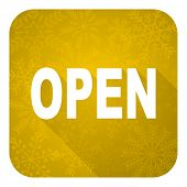 open flat icon, gold christmas button