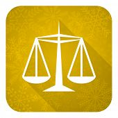 justice flat icon, gold christmas button, law sign