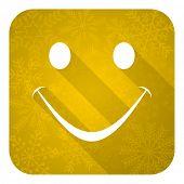 smile flat icon, gold christmas button