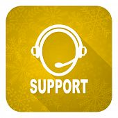 support flat icon, gold christmas button