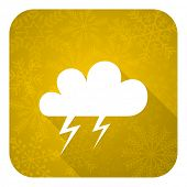 storm flat icon, gold christmas button, waether forecast sign