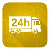 delivery flat icon, gold christmas button, 24h shipping sign