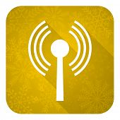 wifi flat icon, gold christmas button, wireless network sign