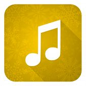 music flat icon, gold christmas button, note sign