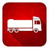 truck flat icon, christmas button, cargo sign