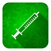 medicine flat icon, christmas button, syringe sign