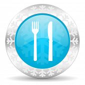 eat icon, christmas button, restaurant sign