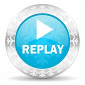 replay icon, christmas button